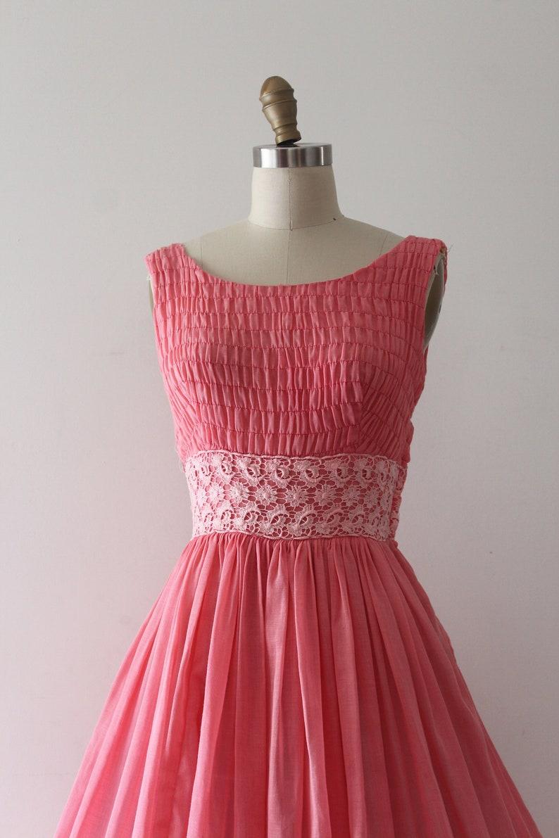 vintage 1950s dress  50s pink cotton sun dress