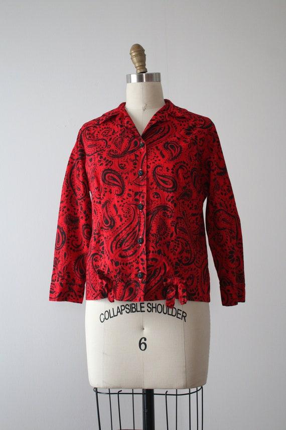 vintage 1950s paisley blouse