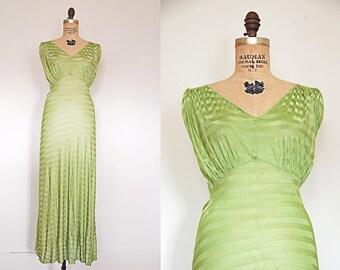R E S E R V E D...    vintage 1930s slip dress // 30s green gown // candy apple long dress