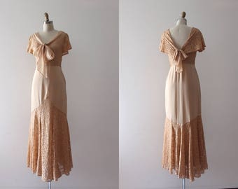 vintage 1930s gown // 30s lace evening gown