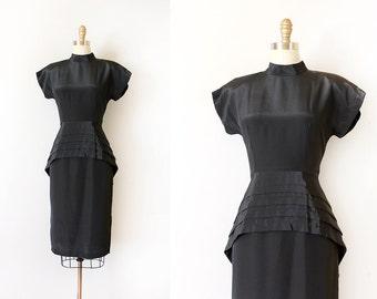vintage 1940s style dress // 40s style peplum black evening dress