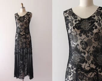 vintage 1920s dress // 20s black net dress