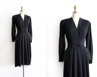 vintage 1940s dress // 40s black crepe evening dress