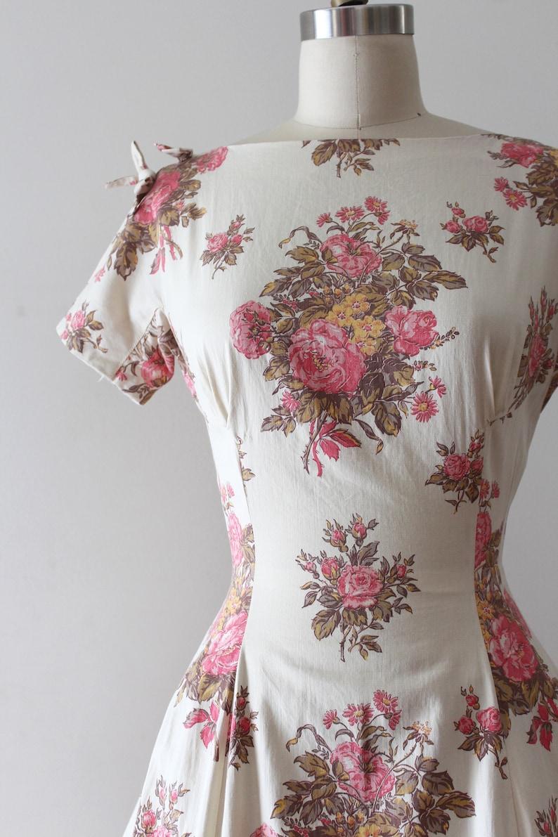 vintage 1950s cotton floral dress