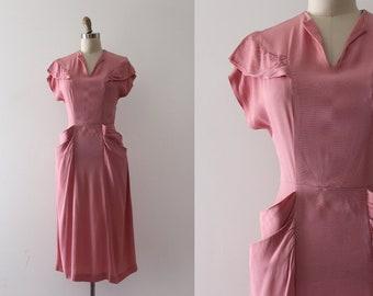 vintage 1940s dress // 40s pink rayon dress