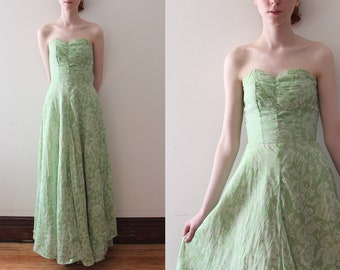 vintage 1940s gown // 40s green floral maxi dress
