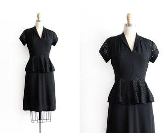 vintage 1940s dress // 40s black crepe evening dress with peplum