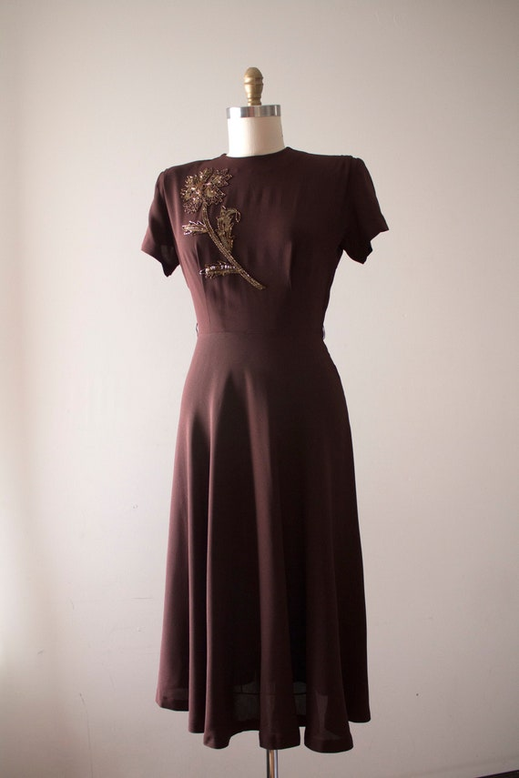 vintage 1940s rayon beaded dress