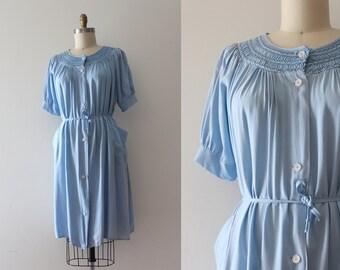 vintage 1940s rayon dress // 40s blue smock dress