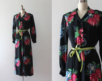 vintage 1940s dress // 40s blue floral rayon maxi dress