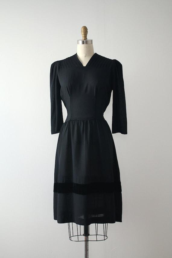 vintage 1940s black rayon dress