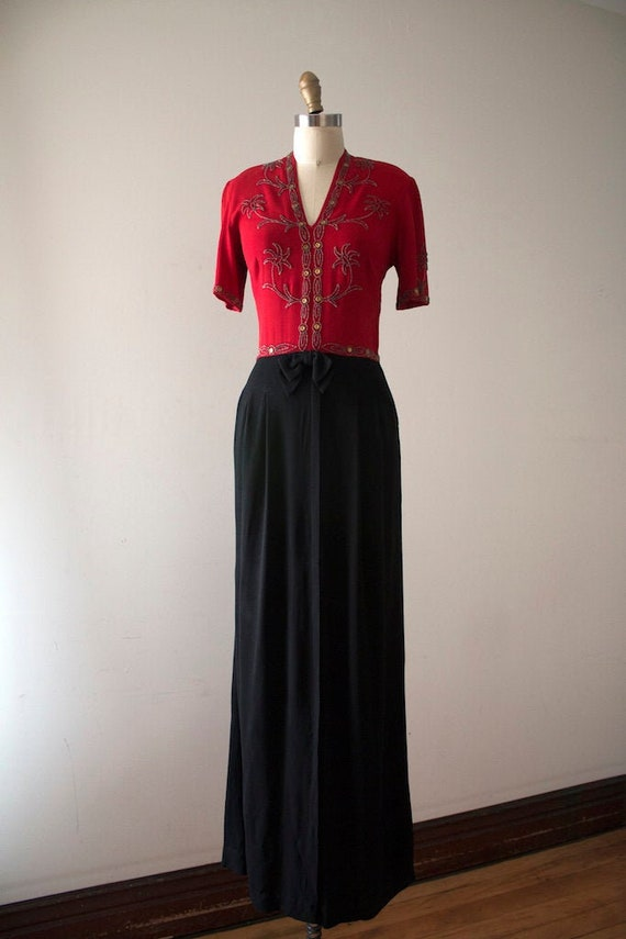 vintage 1940s studded evening gown