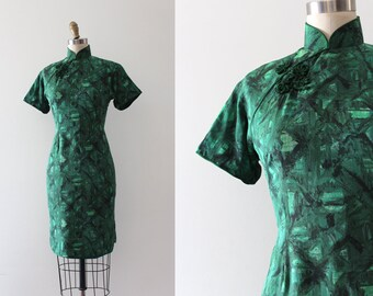 vintage 1960s Cheongsam dress // 60s green silk wiggle dress