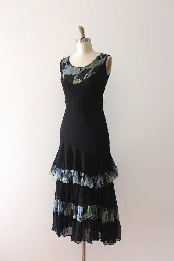 vintage 1930s silk & floral print dress