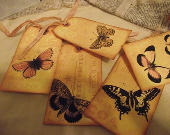 Butterfly French Back Ground Words Gift Tags With Sari Silk Tie  Favor Tags Book Mark Hang tags Packaging  Tags  Journal Tags