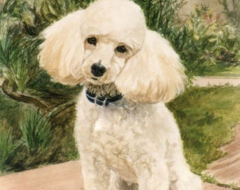 febb8b0f1665 Poodle Art Print, Poodle In Garden Print, Dog in Nature Art, Dog Print,  Poodle Watercolor Print from Original Painting by P. Tarlow