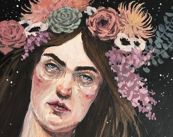 Woman with Flowers gouache painting
