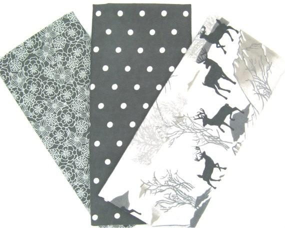 100/% Cotton 3 Fat Quarters Bundle Stripes /& Geometric Print