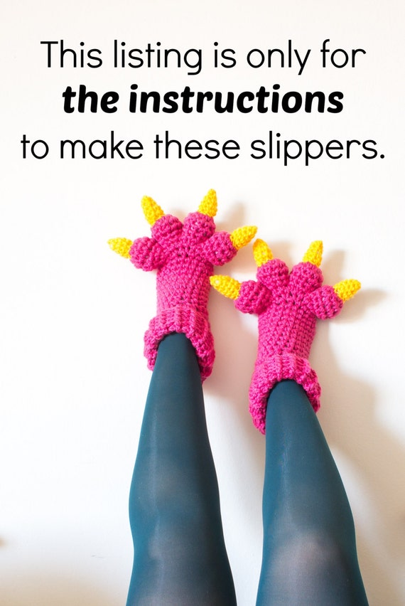 Monster Slippers Crochet Pattern Pdf Kids Womens Mens Adult Etsy