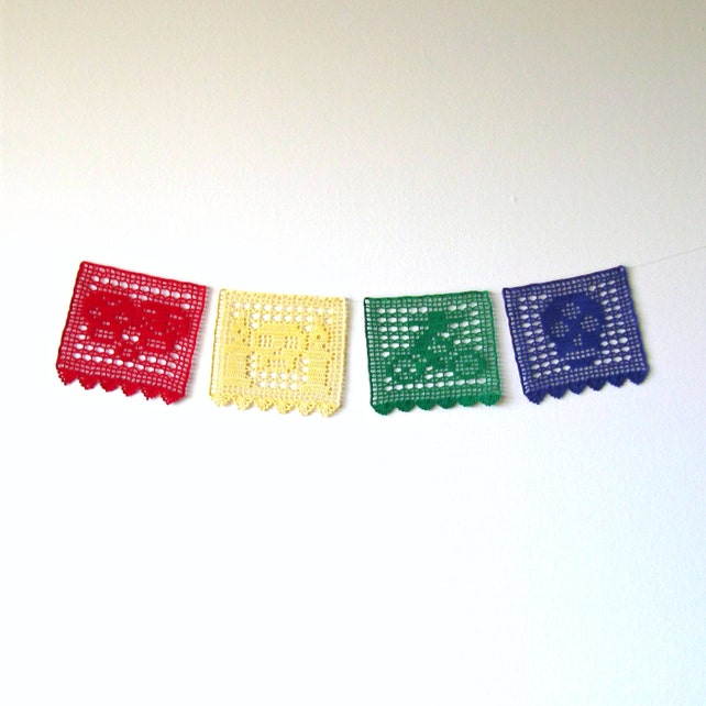 Day Of The Dead Banner Crochet Pattern Four Papel Picado Etsy