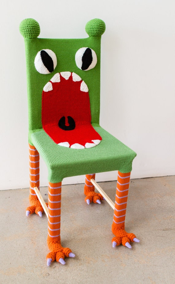 Pleasing Whimsical Monster Chair Colorful Kids Furniture Yarn Bombed Chair Accent Chair Kids Chair Knit Chair Wooden Chair Green Chair Theyellowbook Wood Chair Design Ideas Theyellowbookinfo