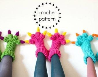 Monster Slippers CROCHET PATTERN PDF, Kids Womens Mens Adult Crochet Slippers Pattern, Monsters Inc Costume Sulley Bigfoot Dragon Amigurumi
