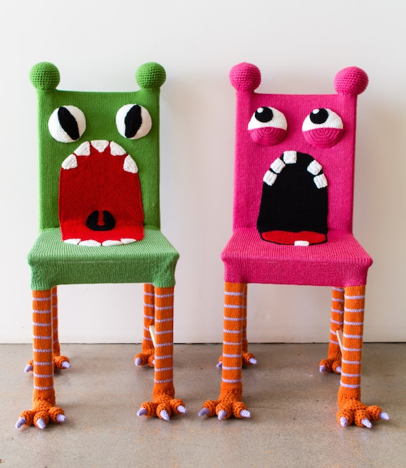 Awe Inspiring Whimsical Monster Chair Colorful Kids Furniture Yarn Bombed Chair Accent Chair Kids Chair Knit Chair Wooden Chair Green Chair Theyellowbook Wood Chair Design Ideas Theyellowbookinfo