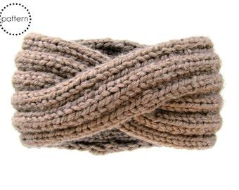 Infinity Headband Knitting Pattern - Ear Warmer Knitting Pattern - Chunky Cowl Knitting Pattern - Chunky Turban Headband - DIY PDF