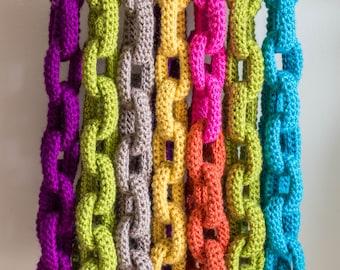 Chain Link Scarf Crochet Pattern - Crochet Scarf Pattern - Crochet Cowl Pattern - Statement Necklace