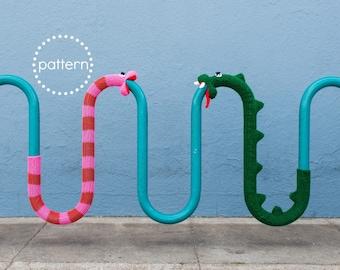 Snake Yarnbomb Knitting Pattern PDF, Bike Rack Cozy Yarnbomb Street Art, DIY Craft Knit Softie Dragon Loch Ness Nelly Caterpillar Worm