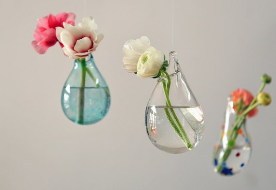 Hanging Air Plant Vase Hand Blown Glass Vase Transparent Etsy