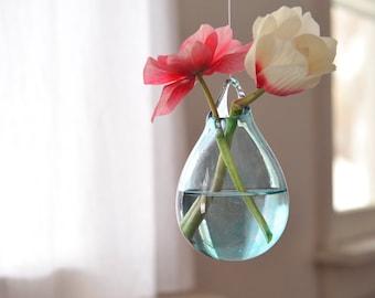 Glass Hanging Vase / Hand Blown Glass Art / Transparent Pale Blue Flower Vase / Wall Decor / Wall Art