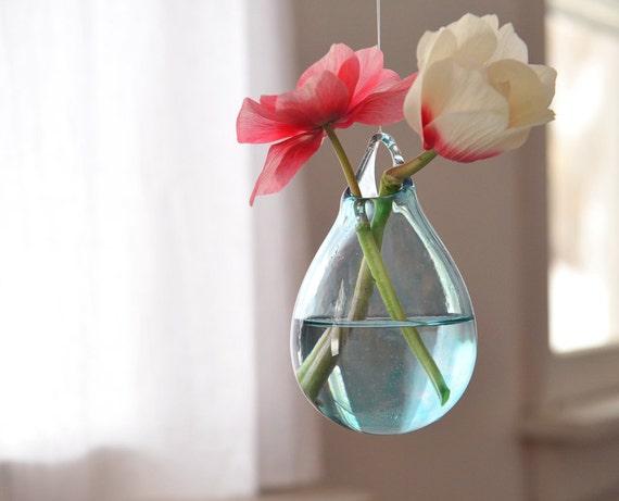 Glass Hanging Vase Hand Blown Glass Art Transparent Pale Etsy