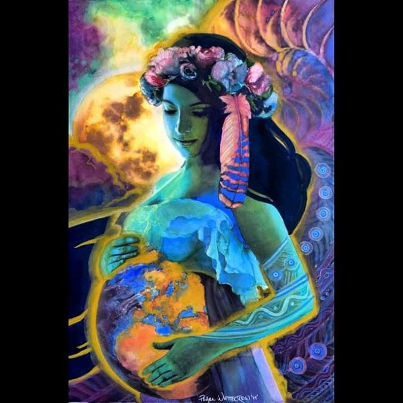 Goddess Artwork Print Maternity Art / Mother Earth / Gaia image 0