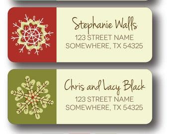 Christmas Snowflake Holiday Return Address Labels - Simple Snowflake