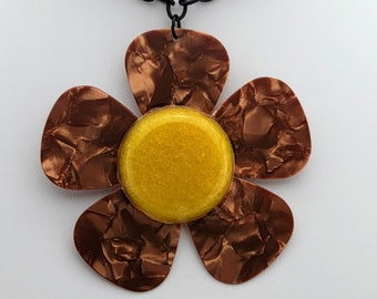 Daisy Guitar Pick Necklace - Five Gold Guitar Picks with Yellow center to create a daisy flower necklace.  Stainless Steel chain included