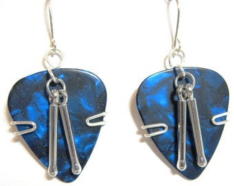 Blue Guitar Pick Earrings with Drum sticks
