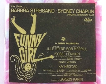 Funny Girl Soundtrack Necklace featuring Barbara Streisand and Sydney Chaplan  Necklace created with AUTHENTIC vinyl soundtrack of the album
