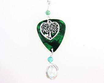Green Tree of Life Guitar Pick Pendant - Aventurine Gemstone Jewelry - Celtic Tree of Life Necklace - Green quartz Jewelry