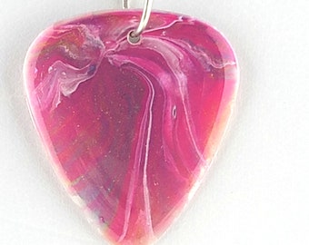 Guitar Pick Pendant hand painted with pinks, purples and whites very vibrant necklace  One of a Kind  OOAK