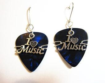 Guitar Pick Earrings = Blue Picks with I love Music Charm