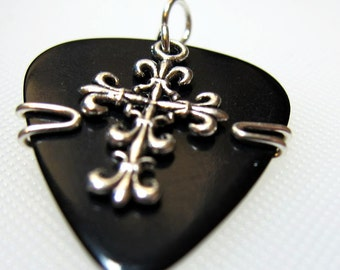 Celtic Cross jewelry made from a guitar pick and a celtic cross charm