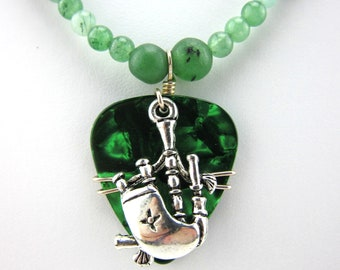 Bagpipe Necklace made with a Guitar Pick, Jade and Balsamic Wood Beads