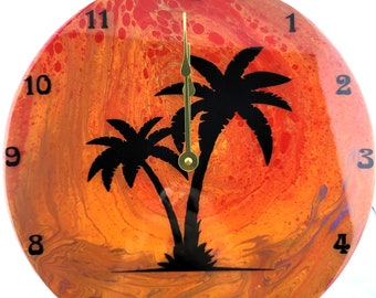 Blissful Sunset- Palm Tree Vinyl Record Wall Clock- One Of A Kind OOAK Hand Painted