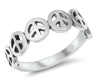 Boho Hippie Peace Sign Ring
