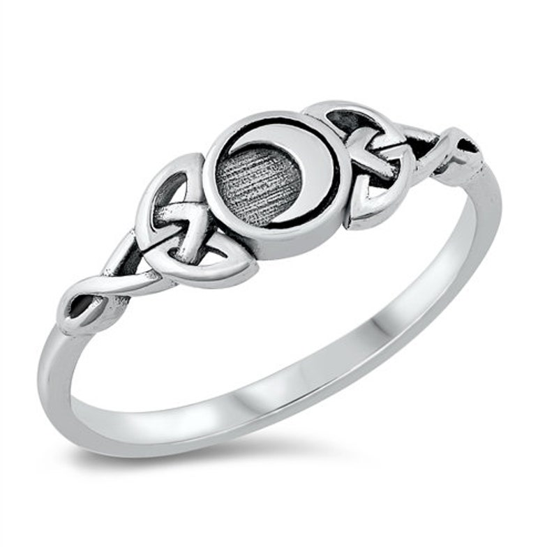 Sterling Silver Triple Goddess Celtic Moon Ring image 1