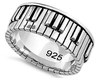 Piano Ring made from Sterling Silver.  Unisex ring Great gift for man or woman
