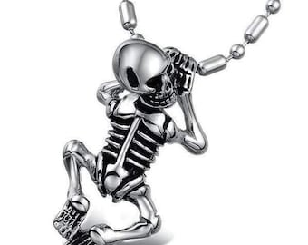 Hanging On Skeleton Necklace made with Stainless Steel