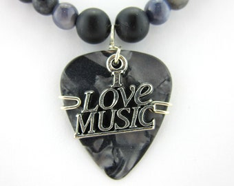 Guitar Pick Necklace made with Polished Stones and Austrian Crystals with an I Love Music Charm for every music lover Great unisex necklace