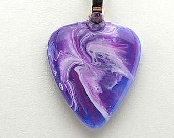 Purple Guitar Pick Pendant hand painted with shades of white, purples, and pinks  very vibrant necklace  One of a Kind  OOAK